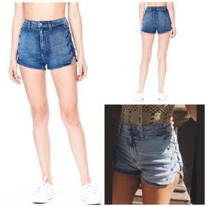 LF Carmar High Waisted Lace Up Denim Shorts, 26